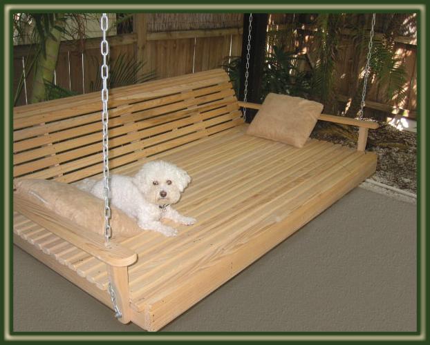 Swing beds porch swings patio swings outdoor swings for Swinging bed frame